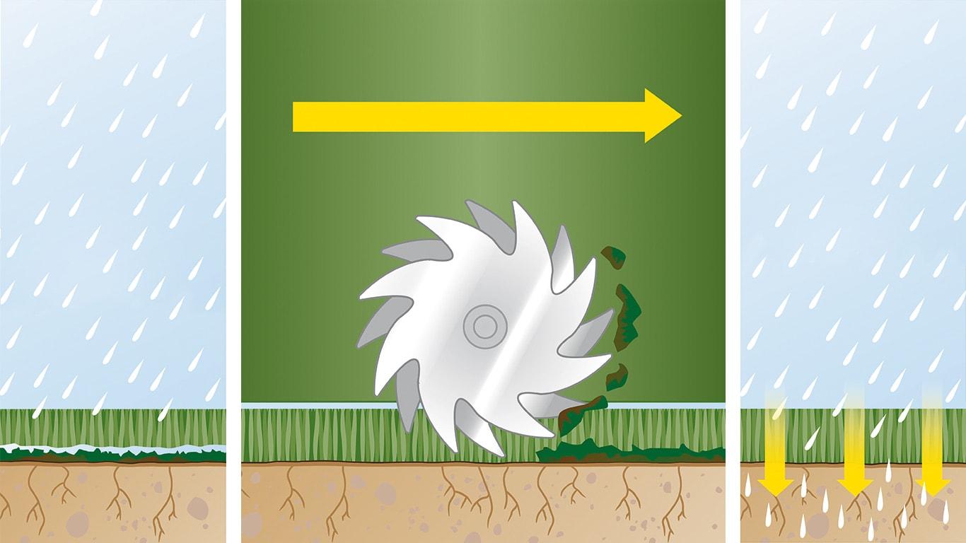 Kurzer Prozess mit Moos: Jeder Rasen bedarf angemessener Pflege, um gesund zu bleiben. Dies umfasst regelmäßiges Vertikutieren − ein Vorgang, bei dem Moos und Rasenfilz aus dem Rasen entfernt werden, sodass die Erde Nährstoffe besser aufnehmen kann.
